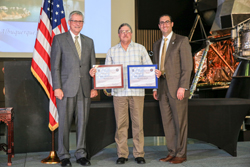 Dr. Steve Burd (center) receives CAE certificates in Huntsville, Alabama.